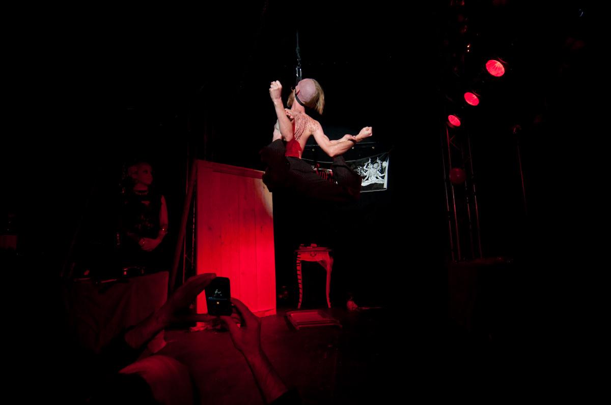 Andrew S. Doing his flexible neck hang!