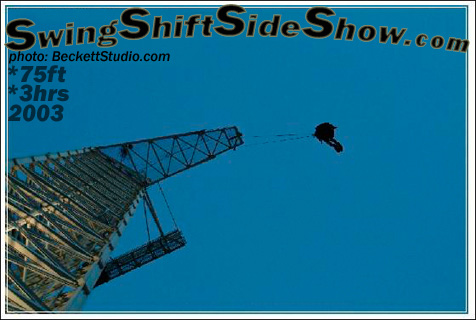 Andrew S. suspends from cables in his flesh 75 ft in the air off a bungee tower!
