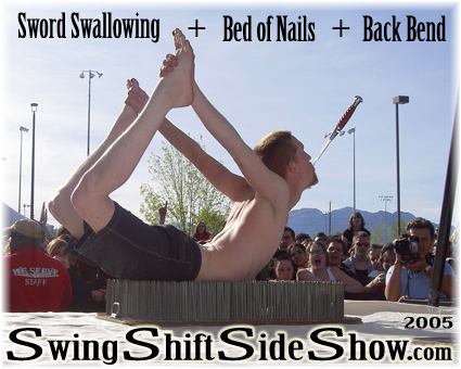 Sword swallowing on a bed of nails with a backbend